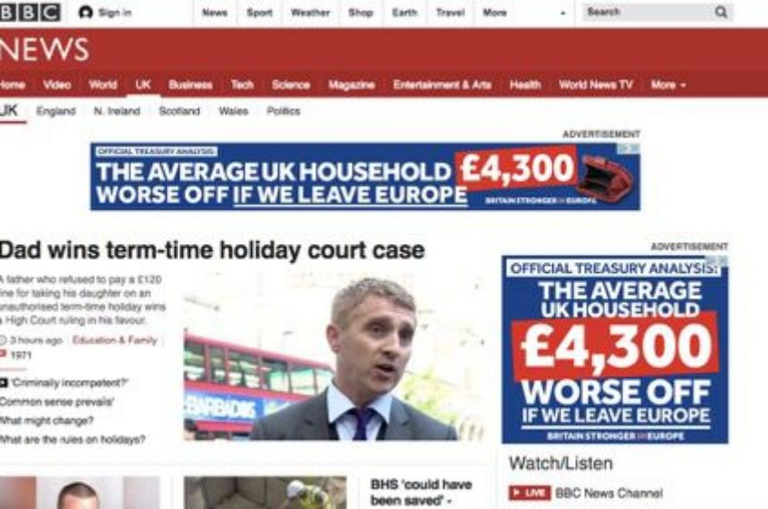 BBC passes the buck over pro-EU website ads